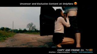 คลิปโป๊ไทยแท้ งานโอนลี่แฟน CHIP AND FRIEND น้องชิปปี้จอดรถข้างถนนลงมาโม๊คควยให้แฟน โชคดีที่ไม่มีใครผ่านมาก